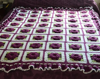 Purple Roses and Ruffles Afghan with Ruffles, Satin Ribbons & Bows -  Will be Made Fresh After Sale - 48 squares