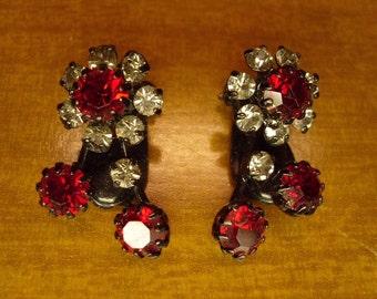 Vintage Red Rhinestone Earrings