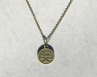Antique Bronze Zodiac Libra Pendant on Bronze Necklace