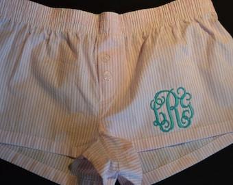 Monogrammed PInk boxer pj shorts ladies