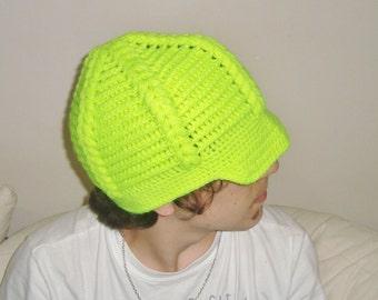 Womens, mens crochet hat - Cap Visor Beret in Neon Yellow Crochet Hat - Mens Accessories