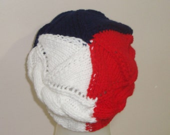 Small French Flag Beret Hat for Women Hat Fine France Hand Knit Hat Flag - Blue, White, Red France drapeau chapeau