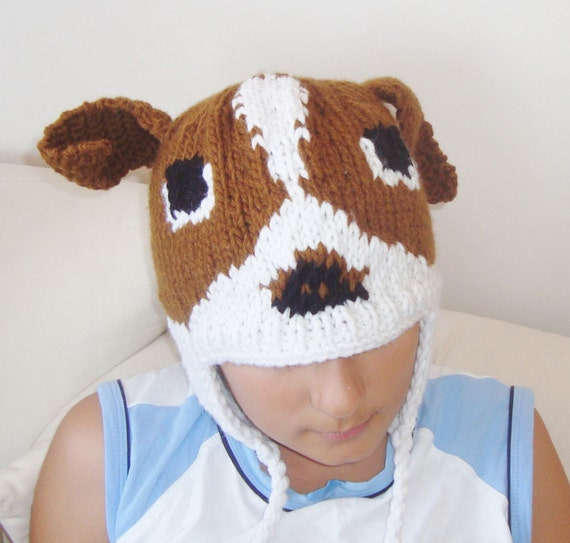 Knitting Gifts For Adults : Adult animal hat dog hand knit mens or womens gifts for