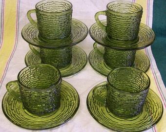 Vintage Anchor Hocking Green Soreno Avacado Glass Coffee Cup Saucer 12 Piece Set