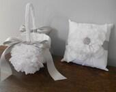 Ring Bearer Pillow and Flower Girl Basket Set - Custom Made to Order