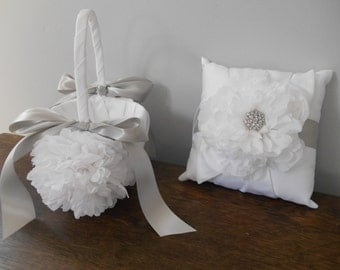 Ring Bearer Pillow and Flower Girl Basket Set - Custom Made to Order
