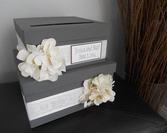 Wedding Card Box, Money Card Box, Custom Made to Order, Gift Card Box Holder, Card Holder, Wedding Money Gift Box, Gray and Pink