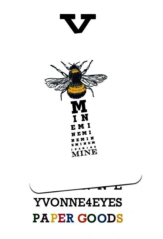 LoveLoversBee Mine Eye ChartCardValentines Day CardBumble – Bee Mine Valentine Card