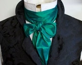 Extra Long Slim REGENCY Tie Ascot CravatPeacock Green Dupioni SILK