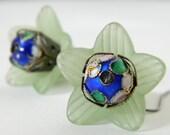 Green Flower Blue Bead Lucite Filigree Dangle Earring