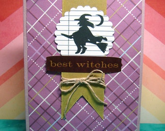 Best Witches Halloween Purple Green Black and White Witches Broom Card