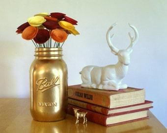 Paper Flower Autumn Centerpiece; Autumn Blaze Centerpiece in Red, Orange, and Yellow Mini Paper Flowers; Thanksgiving Decor