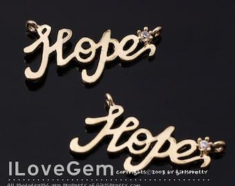 NP-1507 Gold plated, Hope, Pendant, 2pcs