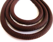 Braided Trim Rope Cord, Semisoft Climbing Cord, Brown Striped String Round Cord 9-10mm approx. - 1Yard/ 92cm (1 piece)