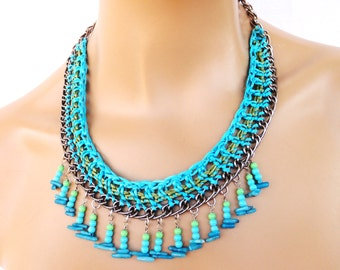 Crochet Chain Necklace, Tribal Necklace in Turquoise and Olive, Color Block Statement Necklace with Glass Beads, Party Bling