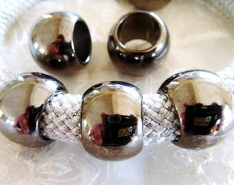 CCB Big Hole Ball, Gun Metal Large Hole Bead, UV Plated Lightweight Bead 18mm, Hole 10mm - 4 pieces