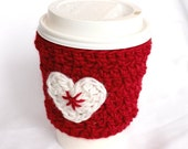heart mug cup cozy coffee red and white  crochet