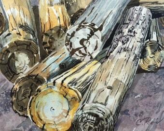 Original watercolor landscape Pile of Logs cut trees
