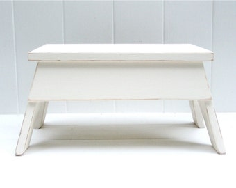 Vintage Style Step Stool No. 2 in Ivory Handmade by Circle Creek Home