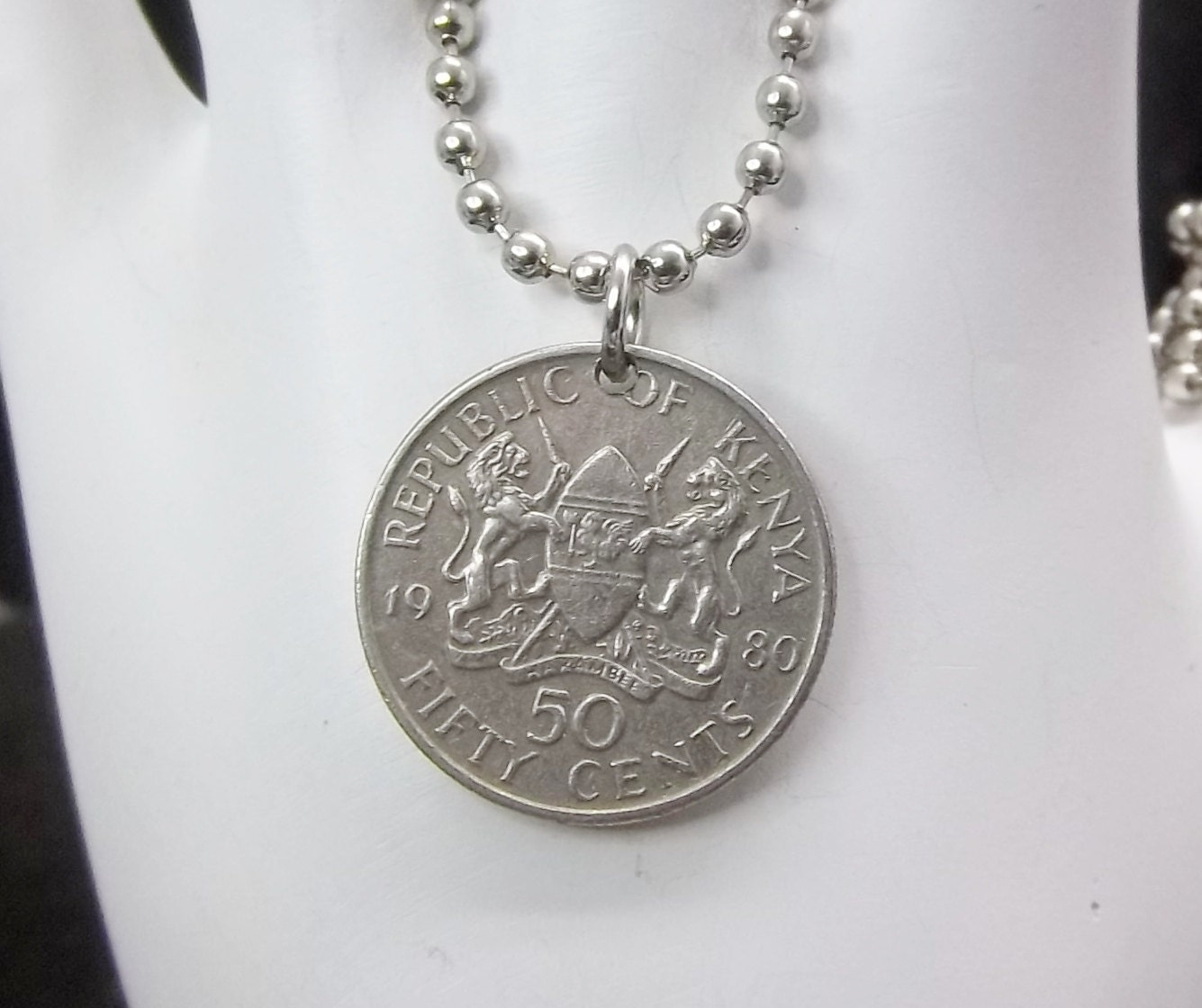 kenya coin necklace 50 cents coin pendant by