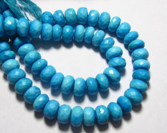 8 inches So Gorgeous - Blue TOURQUISE - Micro Faceted Rondell Beads Huge Size 8 - 9 mm approx