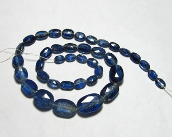 104.00 Ctw - 14 inches Full Strand - KYANITE - Natural Blue Colour - Faceted Ovsl Shape Briolettes Huge size 5x7 - 10x16 mm