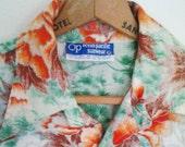 Vintage 1980's OP Hawaiian Shirt L Mens Ocean Pacific Heavy Cotton thread large