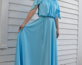70s Blue Grecian Dress Maxi Goddess Formal Gown Vintage Silky Light XS
