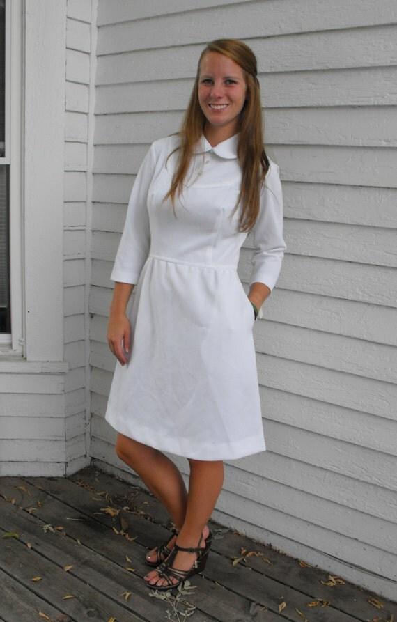 Vintage 60s White Dress Barco Nurse Uniform New Old Stock S