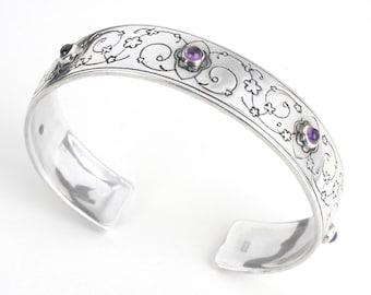Swirly Floral Cuff Bracelet