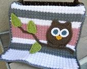 Owl Baby Blanket Lovey Size Girl Baby Shower Gift Pink Gray