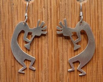 Sterling Silver Kokopelli Indian Earrings
