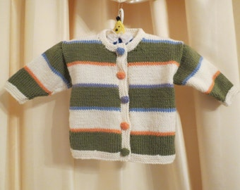 Handmade in Australia Knitted Multicoloured Striped Baby Cardigan