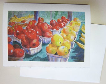 Apples, Fresh Harvest, watercolor print 5 x 7 note card OR ACEO - YOU choose watercolorsNmore