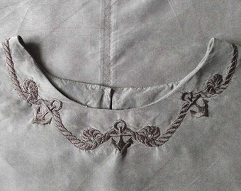 Black Silk Top with Nautical Embroidery - Vintage Blouse - Large