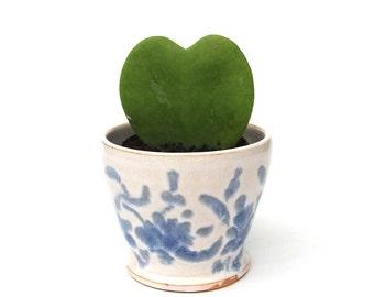 Vintage Planter - Ceramic with Blue and White Glazed Design