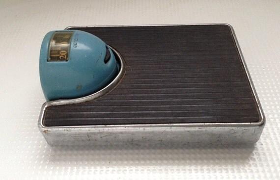 Antique Vintage Detecto metal Lowboy Blue and Chrome Bathroom