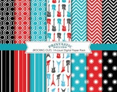 ROCK GUITAR Paper Pack in Turquoise Aqua Blue, Red, Black, and Gray- Instant Printable Download