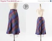 70% OFF SALE // 60s skirt small / purple blue pink and green wool : Oceana