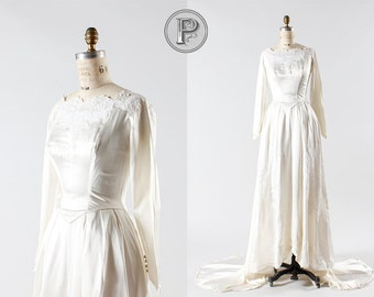 50s wedding dress small / 1950s white lace bridal gown : Matrimony