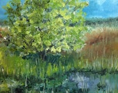 Original Oil Painting - Dutch Tree Pond Painting - Dutch Landscape Painting - NancyVanDenBoom Oil Painting - Tree Pond Original Painting