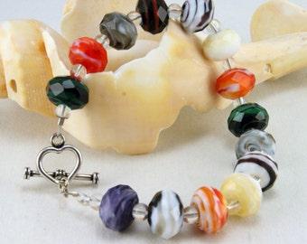 Multicolored Chunky Glass Bracelet