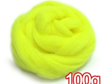 100g Super Fast felting Short Fiber Merino Wool Perfect in Needle Felt Fluorescent Yellow V504