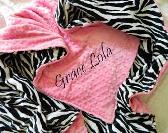 Zebra Blanket - Personalized baby blanket - fuchsia minky dimple with zebra minky print