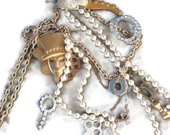 Steampunk necklace vintage recycle one of a kind statement industrial assemblage