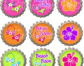 Set of 9 - BEACH BABE - Ready To Use Bottle Caps For Pendants, Magnets, Keychains and More