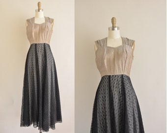 vintage 1940s dress / 40s lace party dress / 40s dress