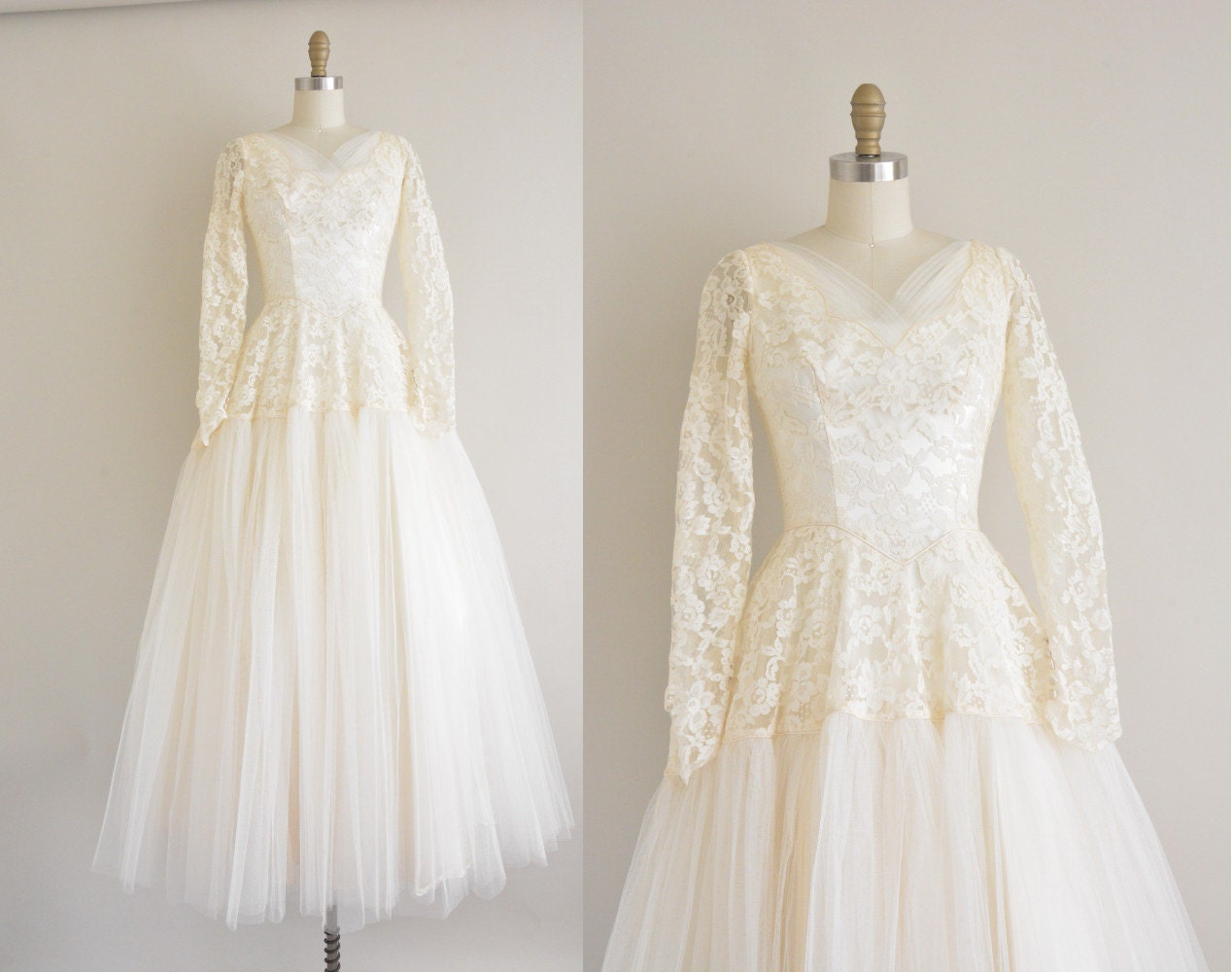 vintage 1950s wedding dress ivory lace 50s by