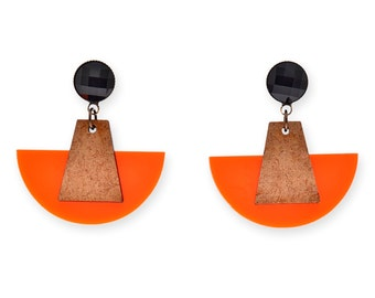 Bold Geometric Earrings, Wood and Orange Plastic Fan Earrings party earrings for her