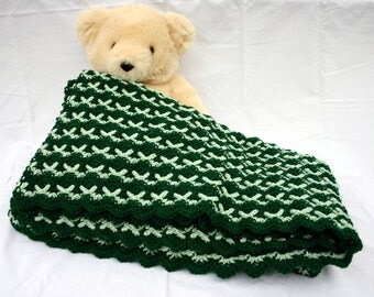 Crochet afghan green ripple throw blanket forest mint honeydew home decor lap couch cover bedding coverlet stripes washable acrylic yarn